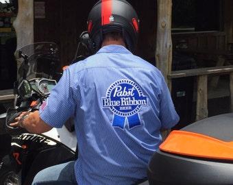 Vintage Beer Shirt, PBR Shirt, Pabst Blue Ribbon, Musician's Shirt, Work Shirt, Bowling