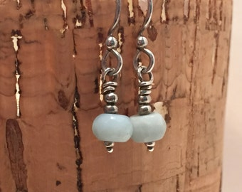 Blue Amazonite Faceted Rondelle and Sterling Silver Dangle Earrings