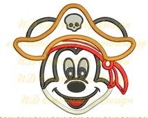Mickey mouse pirate applique, Disney Machine Embroidery Design, cruise crossbones, ms-003