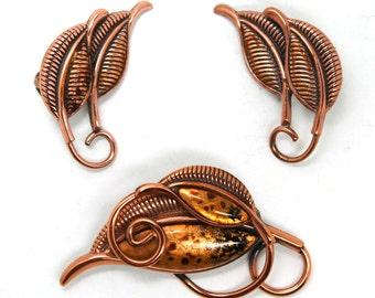 Matisse Jewelry Suite Vintage Mid Century Modern Copper Brooch & Earrings Set Circa 1950's
