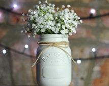 White Painted Kilner Mason Jar UK | Wedding Centrepiece / Table Decoration, Vase, Makeup Brush Holder, Pen Pot