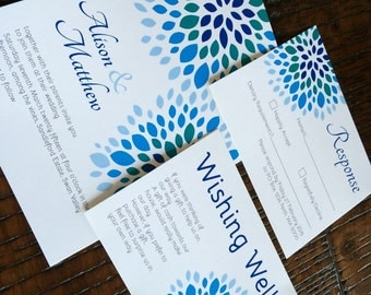 Floral printable wedding invitation suite