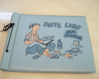 1950s Date Line Dateline Blue Vinyl Photo Scrapbook