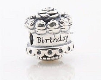 S925 Sterling Silver Happy Birthday ..Threaded...Bead Charm Bracelet