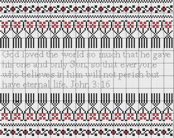 Cross Stitch Pattern Ukrainian Folk Art Motif Border Framing John 3:16, Holy Scripture from The Holy Bible