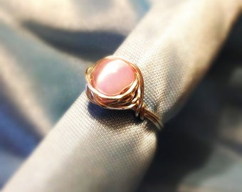 Cat Eye Ring, Wire Wrapped Ring, Pink Cat Eye Ring, Silver Ring, Copper Ring, Meow! Wire Wrapped Pink Cat-Eye (Cymophane)Ring, Beach Jewelry