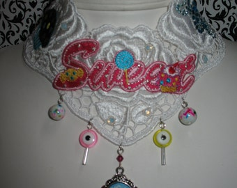 Overdosed on Sweets~ morbid sweet cupcake candy skull lollipop gothic venise lace choker necklace
