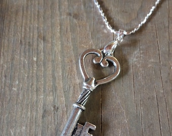 Heart key Pendant with Sterling silver chain