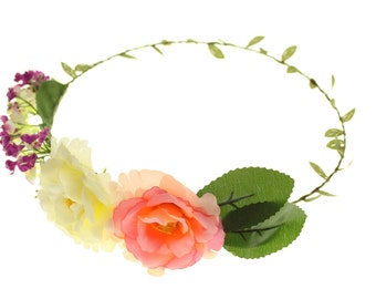 Flower Hair Garland Crown Headband Festival - ROSE