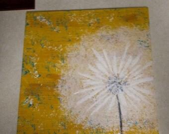 12x12 Ceramic Tile painting, Dandelion