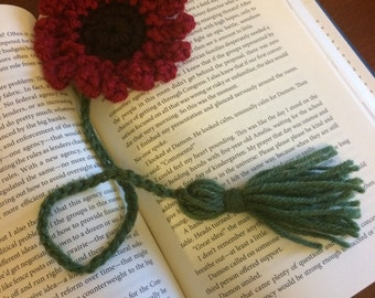 Red Crochet Flower Bookmark