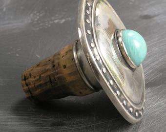 Vintage large turquoise. 835 silver cork fine by Golderman