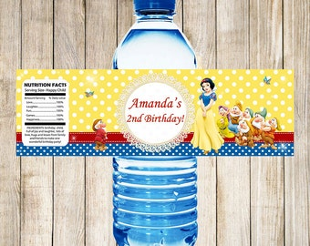 Snow White Water Bottle Labels
