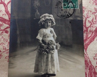 Map postcard little girl 1912