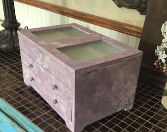 Upcycled Vintage Hand Painted Jewelry Box // Reclaimed Shabby Chic Decor Jewelry Chest