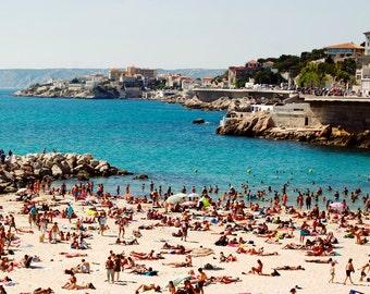 Plage des Catalans - Beach, France, Marseille, Summer, Travel Photography, Turquoise, Water, Sunbathing, Europe, Sun, Print Art Photograph