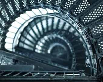Lighthouse Stair 2024 - Beach Architecture Industrial Spiral Staircase Metal Iron Railing Black Blue White Geometric Art Print Photograph