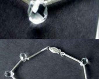 SPARKLE! QUARTZ BRIOLETTE & Silver Bracelet! 101650