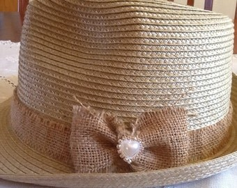 LADIES Natural Straw Fedora  Hat, choose your style & colour.Crochet lace, hearts,bows