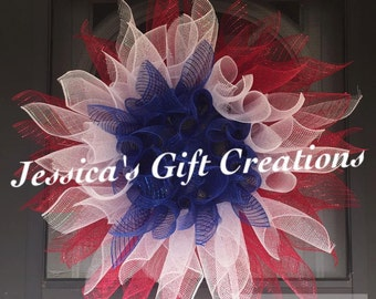 Made to Order Patriotic Sunflower Mesh Wreath/4th of July/Red White and Blue/America/USA/Holiday/Door Wreath/Front Door/Labor Day/Military