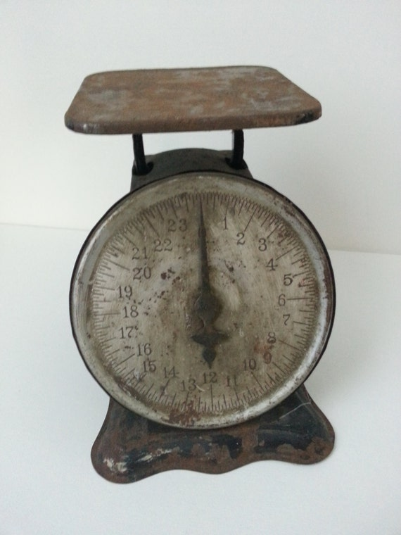 Vintage hibbard 24 lb kitchen scale rustic shabby chic for Rustic kitchen scale