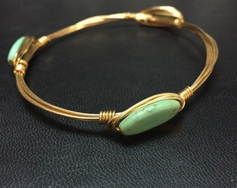 Turquoise Handmade wire wrapped bangles made to order