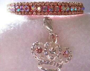 3/8 inch Prissy Pink Aurora Crystal Rhinestone Dog or Cat Collar 376