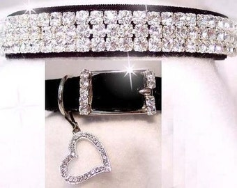 Black Velvet Sweetheart Crystal Rhinestone Dog or Cat Pet Collar