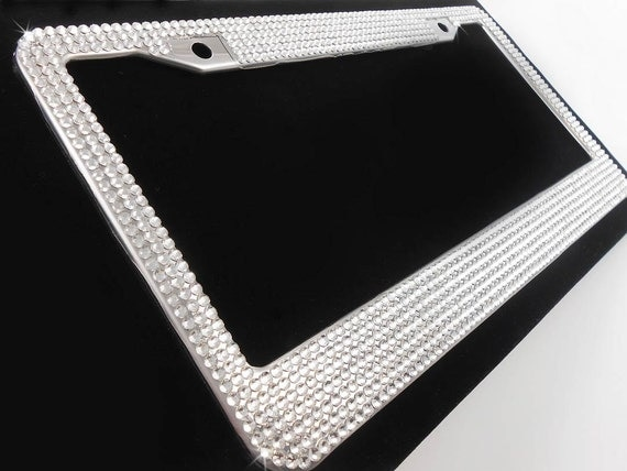 Crystal License Plate Frame W Screw Cap Covers Clear Silver