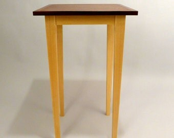 Accent Table, Pedestal Table, Bubinga and Cocobolo with QS Ash Base