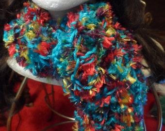 Teal Blue Trimmed Fuzzy Rainbow Crochet Scarf