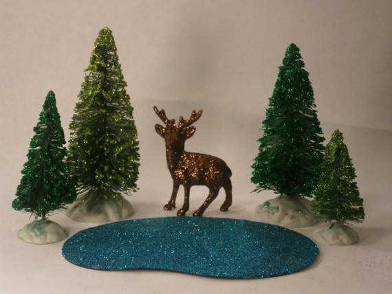 Miniature village Woodland Scene set: miniature brown deer, 4 green bottle brush trees, and one teal blue glittered pond