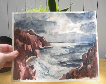 Vintage Watercolor Seascape on Paper
