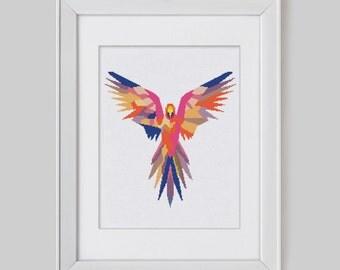 Parrot cross stitch, Parrot cross stitch pattern, parrot counted cross stitch, Parrot modern cross stitch pattern