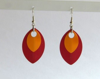 Earrings made of scales - various color combinations
