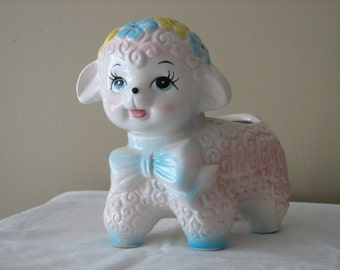 Vintage Lamb Planter with Bow Tie and Flowers