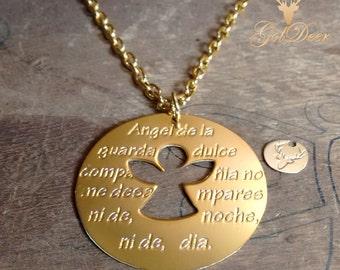 Angel de la guarda. Necklace of Angel de la guarda prayer Gold Filled, (SPANISH), Collar Angel de la guarda en gold filled