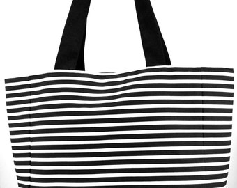 Black & White Striped Tote
