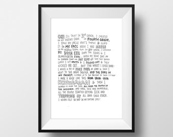 Chunk's Confession - The Goonies Movie Quote Print Film Gift