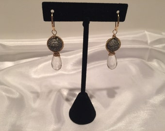 Gold Filled Pave and Crystal Drop Earrings