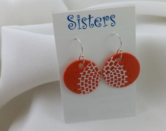 Polymer Clay Earrings...Orange and White