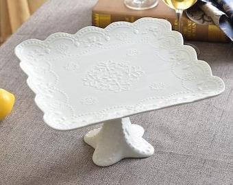 Ceramic Milk Glass Cake Stand / Vintage Wedding Cake Pedestal / White Cake Plate Ruffle Cake Stand / lace wedding cake stan