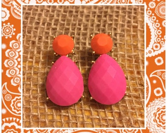 Pink and Orange Drop Jewel Earrings - Gold and Pink Earrings - Teardrop Studs - Tear Drop Earrings - Pink and Orange Earrings - Jewel Drop