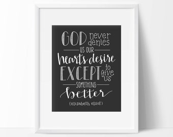 Elisabeth Elliot Quote | Hand Lettered Typography Print | Calligraphy | Wall Art