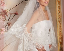 Two Tiers Lace Edge Cathedral Wedding Veils With Elbow Length Blusher, Double Tiers Lace Wedding Veil, 2 Tiers Long Lace Veils  Style V4C