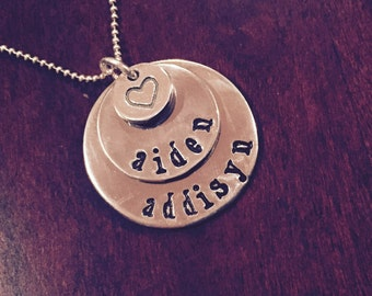 Customized Layered Circles Necklace with a Heart Accent