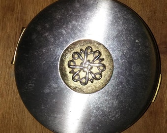 Vintage Avon Compact Silver Gold Metal Intact