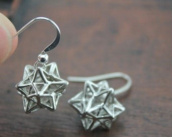cute star earrings - small stellated dodecahedron jewelry Christmas jewelry E9A