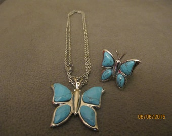 Turquoise Butterfly necklace and ring set