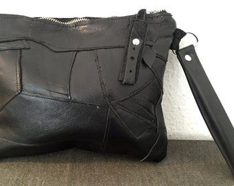 6.000 HUF Black leather patchwork clutch